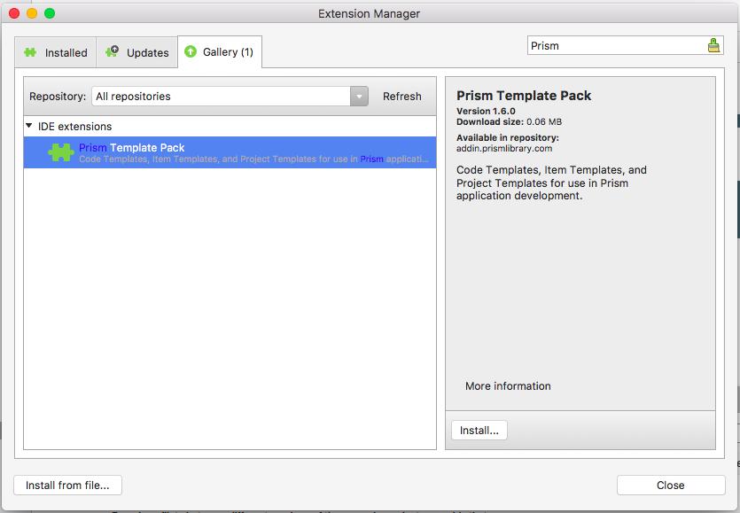 dan siegel prism template pack in visual studio for mac